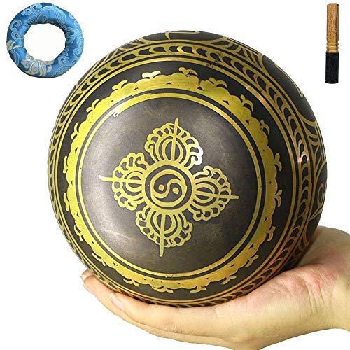 HYCy Cuenco Tibetano, Cuenco Tibetano, Cuenco Budista, oración, Yoga, meditación Consciente, relajación, estrés y ansiedad, curación (13Cm), S, Hecho a Mano
