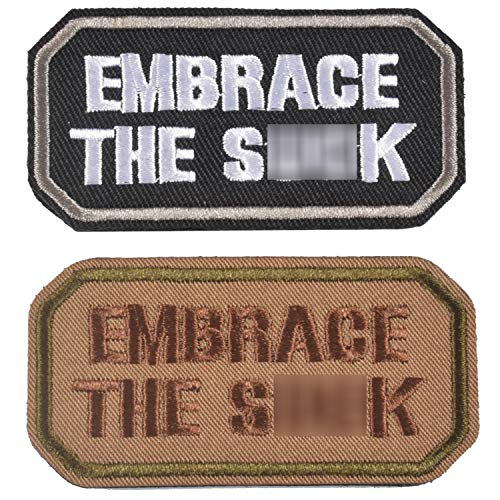 2 Pieces Embrace The SK Funny Patches, Tactical Clothing Accessory Backpack Armband Embroidery Decorative Patch