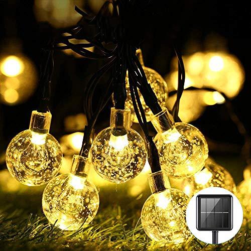 Solar Garden Lights,30 LED Warm White Lights Solar Powered 21.3ft,Xmas Lights 8Modes Waterproof LED Crystal Ball Decorative Light,Garden,Party,Festival No wiring