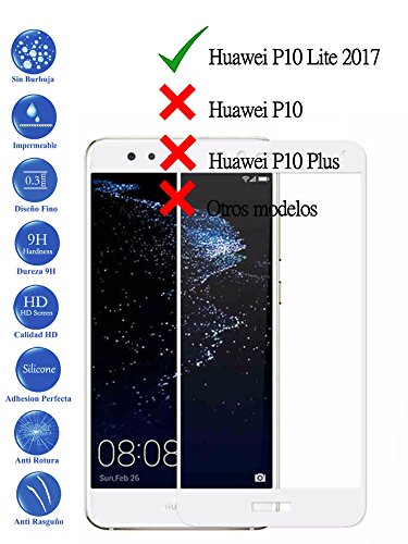 Todotumovil Protector de Pantalla Huawei P10 Lite Blanco Completo 3D Cristal Templado...