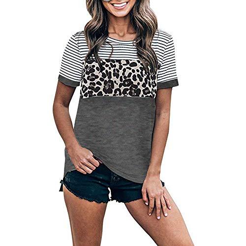 DREAMING-Camisa Casual Salvaje De Primavera Y Verano para Mujer, Cuello Redondo, Costuras De Leopardo, Camiseta De Manga Corta Gris Oscuro XL