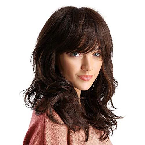 ATAYOU® Synthetisches Lockiges Haar Perücke Schulterlanges Braun Haar Perücken für Frauen mit Perücke Kappe (Braun@0496)