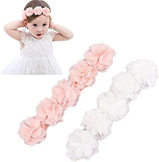 Baby Elastic Chiffon Flower Headbands Princess Girls Hand Sewing Beads Flower Headwear (White Pink)