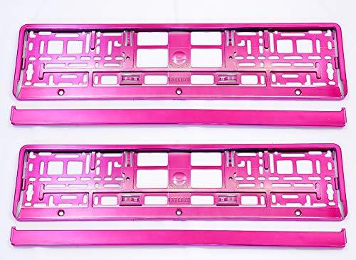 Set 2 x PREMIUM Kennzeichenhalter Kennzeichenhalterung Nummernschildhalter NEU (pink)