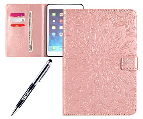 JAWSEU PU Leather Case Compatible with iPad Mini 2/3, Flip Wallet Front and Back Magnetic Folio Stand Cover with Cute Pattern Design Inner Silicone Card Slots Function Protective Cover