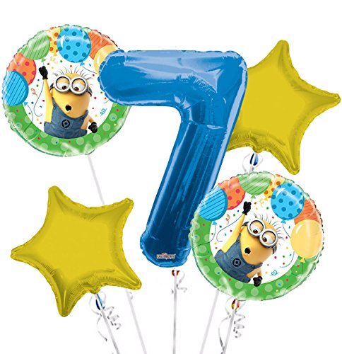 Minions Despicable Me Balloon Bouquet 7th Birthday 5 pcs - Party Supplies