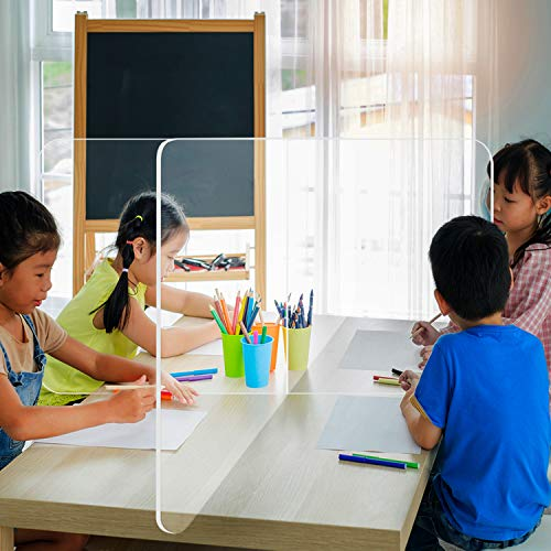 School Tabletop Desk Divider Sneeze Guard - Protective Plexiglass Shield for Counters, Barrier Against Virus Spread Board, Clear Acrylic 4 Person Desk Divider - 4' x 2' x 4'