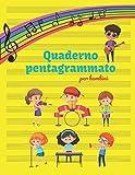 QUADERNO PENTAGRAMMATO per bambini: Ottimo quaderno pentagrammato | Regali per Bambini | 102 pagine | 12 doghe per pagina