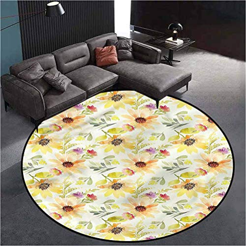Watercolor Flower Water-Repellent Rugs Chromatic Collection Modern Abstract Pastel Summer 4'in Diameter