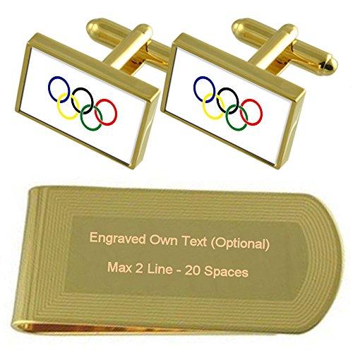 Select Gifts Olympische Bewegung Flagge Gold-Manschettenknöpfe Geldscheinklammer Gravur Geschenkset