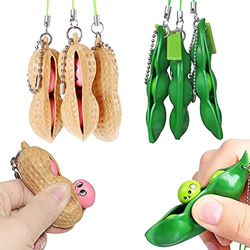 6pcs Squeeze Bean Fidget Toy, Peanut and Pea Toy Keychain Sensory Toy Gift for Children and Adults Release Stress and Anxiety Stress Relieving Chain Toys. (Anaheim American Metal)