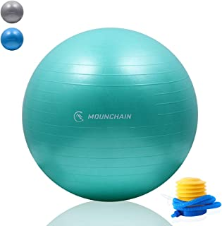 Mounchain Gym Ball, Exercise Ball, Extra Thick Yoga Ball Chair, Anti-Burst Heavy Duty Stability Ball Supports 2200lbs, Bir...