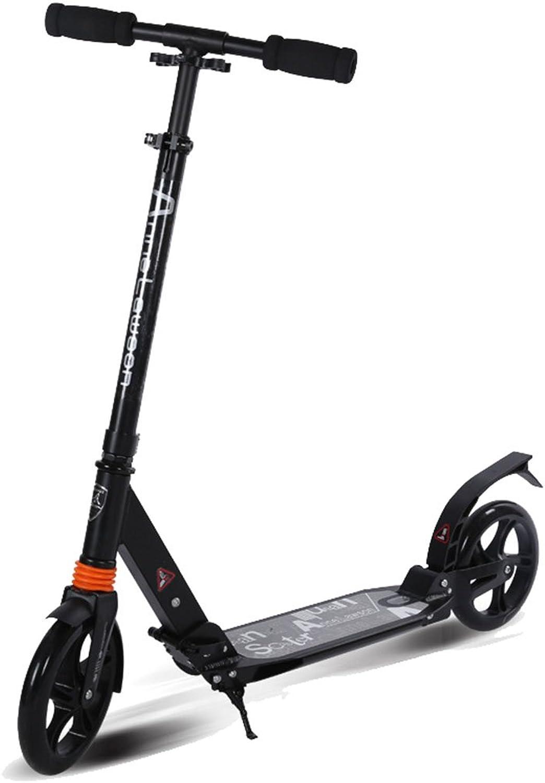 la mejor selección de Chlyuan-sp Scooter para para para Niños Scooter Adulto de Dos Ruedas de Aluminio Rueda Grande Plegable Scooter Adulto Dos Ruedas Doble amortiguación para Niños (Color   Negro)  centro comercial de moda