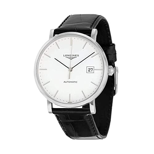 Longines Elegant White Dial Black Alligator Leather Automatic Mens Watch L49104122