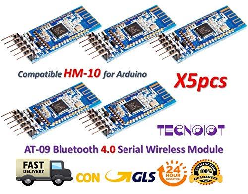 TECNOIOT 5 stücke AT-09 Bluetooth 4,0 Modul BLE CC2540 Transceiver CC2541 HM-10 MLT-BT05 | 5pcs AT-09 Bluetooth 4.0 BLE CC2540 CC2541 Serial Wireless Module Compatible with HM-10 Arduino