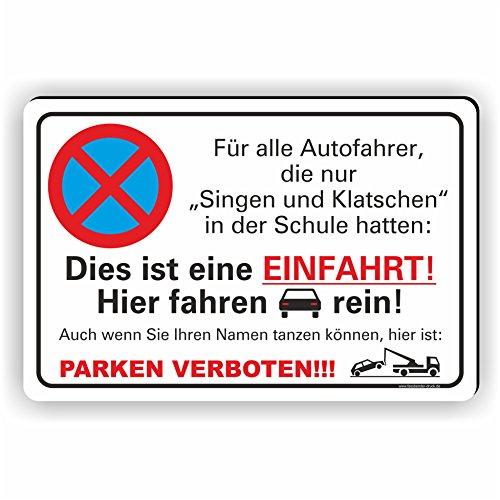 Fassbender-Druck SCHILDER - SINGEN UND KLATSCHEN PARKEN VERBOTEN - Parken verboten Schild - Schild zum Markieren vom absoluten Parkverbot- lustiges FUN Parkplatz Schild (30x20cm Schild)