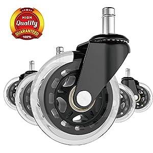 Ruedas giratorias industriales de 10,16 cm, juego de 4 ruedas con freno de poliuretano con capacidad de carga de freno…