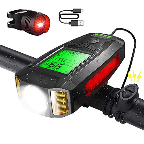 Bike Bicycle Light Super Bright- LED Bike Light Set Front and Back, Bike Headlight Taillight Combinations with Bike Speedometer Odometer Calorie Counter, USB Rechargeable with 5 Lighting Modes (Black)