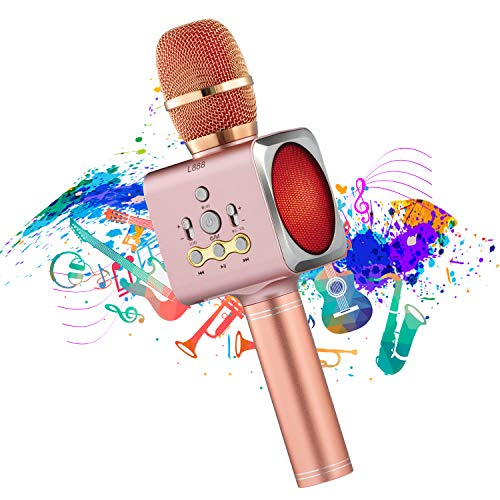 Wireless Bluetooth Karaoke Microphone, Portable Handheld Mic ,Speakers Karaoke for Home Singing ,KTV ,Party Birthday,Recording,Compatible with Android & iOS(Rose Gold)