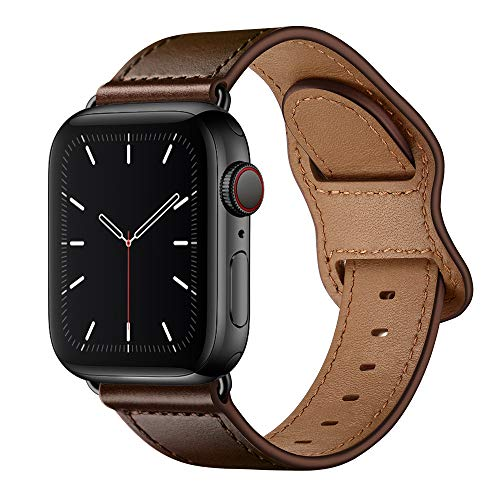 KYISGOS Compatible with iWatch Band 44mm 42mm 40mm 38mm, Genuine Leather Replacement Band Strap Compatible with Apple Watch SE Series 6 5 4 3 2 1 (Dark Brown/Black, 44mm/42mm)