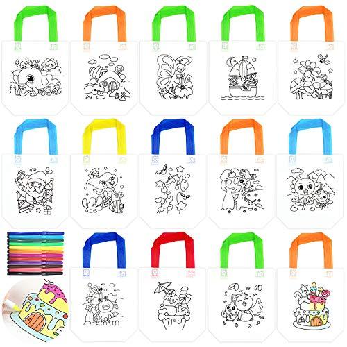 JJQHYC 14 Pezzi Borsa da Festa in Tessuto Non Tessuto Borsa Graffiti Fai-da-Te +12 PCS Penna dei Graffiti, per Feste di Compleanno, Comunioni, Scuola Materna , Celebrazione