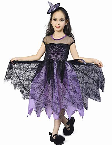 IKALI Costume Strega Bambina, Ragazze Halloween Stampa Scheletro Ragno Vestito 3-4anni