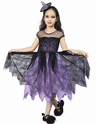 IKALI Girls Witch Costume, Kids Spider Fancy Dress Up, Halloween Spiderella Outfit