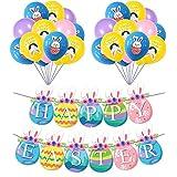 Decoraciones de Fiesta de Pascua, Guirnalda de Banderines de Conejo Happy Easter y 20 Globos, kits de decoración de fiesta de banner de patrón de conejito para celebración de Pascua (A)