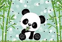 新しい男の子のベビーシャワーの写真の背景10x7ftのかわいいパンダが竹の木の下で食べる背景幼稚園の活動野生のベビーシャワーのパーティーテーブルの装飾写真ブースデジタル壁紙