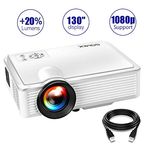 Video Projectors, 2400 Lumens LED Mini Projector Portable 1080P Full hd Support, SOMEK VGA AV USB HDMI Home Theater Movie Projector for Laptop/Game/Outdoor/DVD/TV/Home Cinema Entertainment