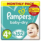 Baby Nappies Size 4 (10-15 kg/22-33 Lb), Baby-Dry, 152 Count, MONTHLY SAVINGS PACK, Air Channels for Breathable Dryness Overnight Size 4+ (152 Count) - B00AR9HX8G