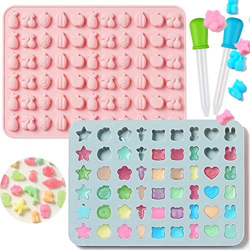 BESLIME Silikon-Formen für Süßigkeiten, Gummibärchen, Eiswürfel, 2 Stück, Bunte Gumdrop Gelee-Formen mit 2 Pipetten für selbstgemachte Süßigkeiten, Gelee, Kekse, Schokolade, aromatisiertes EIS