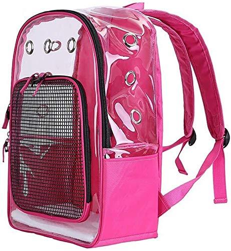 YYhkeby Pet Carrier PVC Transparent Out beweglicher Haustier-Rucksack-Tragetasche Katze Kleiner Hund Breathable Ineinander greifen Fenster for Reisen Wandern Wandern Jialele (Color : Pink)