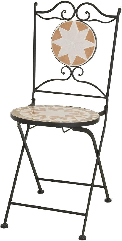 Siena Garden 659998 Klappstuhl Finca, 36x36x89cm, Gestell  Stahl, in schwarz matt, Flche  Keramik in bunt