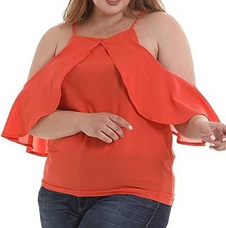 DADKA Womens Shirt Fashion Chiffon Plus Size Solid Sling Blouse Sleeve Sexy Strapless Shoulder Tops Shirts
