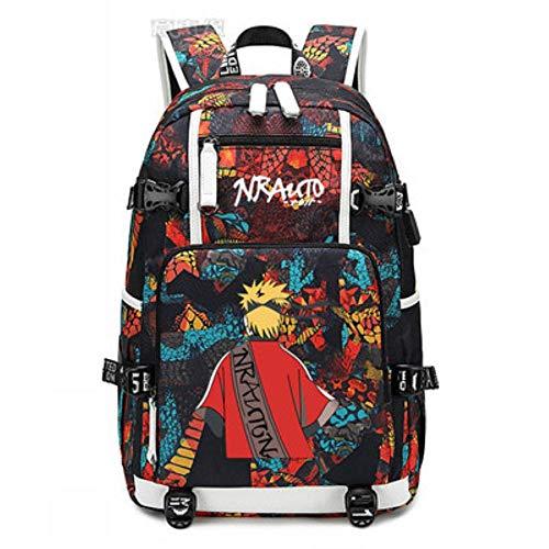 Xcmlz Naruto School Bag Laptop Bag Men Travel Bags USB Chargingoxford Backpack 4