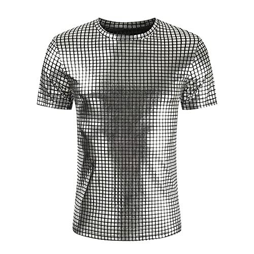 Camiseta de manga corta para hombre, cuello redondo, estilo club nocturno, imitación de charol
