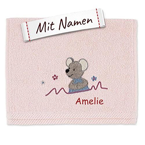 Sterntaler Mabel Kinder/Baby Handtuch bestickt mit Namen, Rosa Mädchen Kinderhandtuch personalisiert, Maus Zartrosa