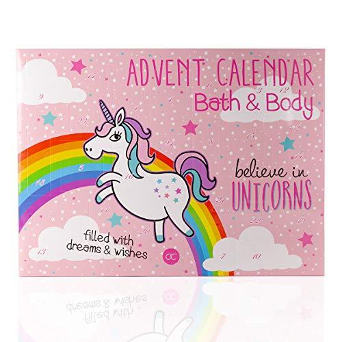 Accentra Einhorn Adventskalender - Beauty Adventskalender für Mädchen und Frauen - Weihnachtskalender Pferd mit Kosmetik Inhalt: Body Lotion, Badekugeln, Seife, Badesalz uvw. Wellness