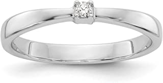 Solid 925 Sterling Silver .03ct. Diamond Ring (2mm)