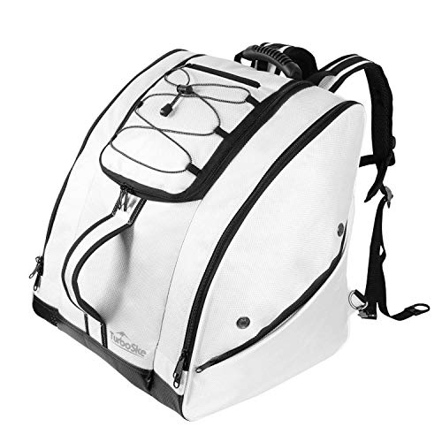 TurboSke Ski Boot Bag - Snowboard Boot Bag for Skiing and Snowboarding Travel Luggage, Store and Transport Helmet Goggles Gloves Clothing and Other Accessories (White)