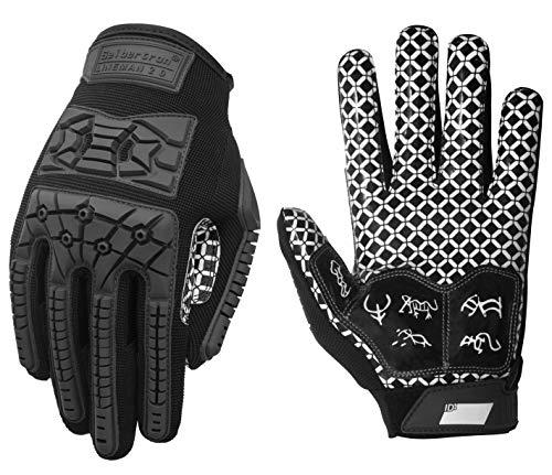 Seibertron Lineman 2.0 Padded Palm Football Receiver Gloves, Flexible TPR Impact Protection Back of Hand Glove Adult Sizes Black L