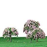 GoolRC 4 Stück Kunststoff Modell Bäume Zug Layout Garten Landschaft Weiß und rosa Blumen Bäume...