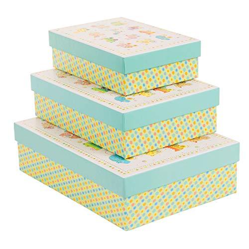 goldbuch 85 632 - geschenkkartonagen Set 3-teilig Turnowsky Design Animals on Wheels, Set mit 3 geschenkboxen in verschiedenen größen, 3 geschenkkartons mit Kunstdruck, goldprägung und Relief