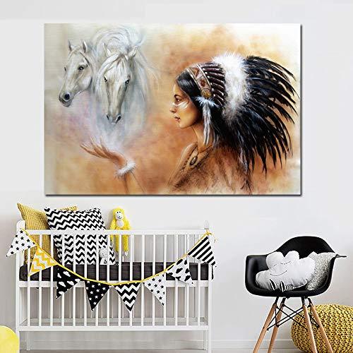 N / A Indische Indigene Mädchen Feder weiß Pferd Leinwand Malerei skandinavischen Plakatdruck nordischen Wohnzimmer rahmenlose dekorative Malerei A85 60x80cm