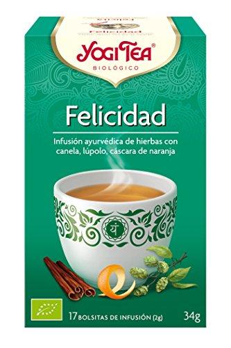 Yogi Tea - Felicidad, Infusión Ayurvédica de Hierbas con Canela, Lúpulo y Cáscara de Naranja - 17 Bolsitas, 34 g