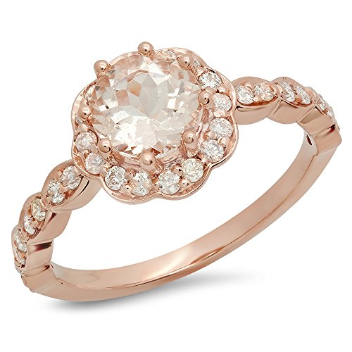 Damen Ring 14 Karat Rose Gold Rund Echte Morganite & Diamant Flower Shaped Halo Verlobungsring
