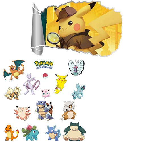 Kibi 2PCS Pokemon Aufkleber   Pikachu Wandtattoo für Kinder Wandtattoo Pokémon Pikachu Wandsticker Wandaufkleber Wanddeko für Kinderzimmer Babyzimmer
