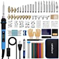 Umitive 94Pcs Wood Burning Pyrography Pen Kit, Digital LCD Display, Power Cable with Switch, 180°C- 480°C Adjustable Temperature, 80W Soldering Pen and Tips Stencils for Welding Carving