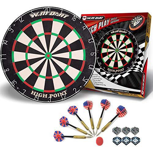 "WIN.MAX 18"" Bristle Dartboard Steel Tip Dart Board with Flights, Finger Grip Wax, Darts (18"" Bristle Dartboard)"